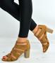 Camel Cage Block Heel Sandals