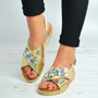 Gold Flat Diamante Sandals