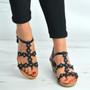 Black Flower Diamante Studded Wedge Sandals