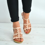 Pink Flower Diamante Studded Wedge Sandals