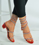 Red Suede Ankle Studded Sandals