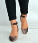 Coffee Brown Mid Block Heel Ankle Strap Pumps