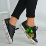 Black Floral Trainers Lace Up Sneakers