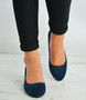 Dark Blue Back Zip Court Pumps Wedges