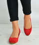 Red Suede Back Zip Court Pumps Wedges