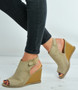 Beige Suede Ankle Strap Wedge Sandals