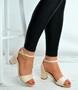Beige Patent Ankle Strap Mid Block Heel Sandals