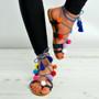 Navy Blue Pom Pom Lace Up Fringe Flat Sandals