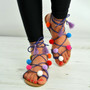 Dark Purple Pom Pom Lace Up Fringe Flat Sandals