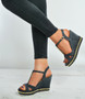 Black Denim Rock Studs Wedge Espadrille Platforms