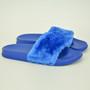 Hanna Blue Fur Flip Flops