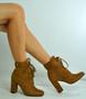 Audrey Camel Block Heel Ankle Boots