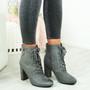 Audrey Grey Block Heel Ankle Boots