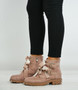 Arya Pink Studded Bow Ankle Boots