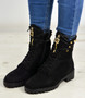 Ann Black Suede Lace Up Zip Ankle Boots