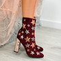 Rose Wine Red Sparkle Stars Block Heel Ankle Boots