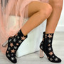 Rose Black Sparkle Stars Block Heel Ankle Boots