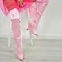 Mallory Pink Satin Block Heels Otk Boots