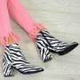 Ella White Zebra Ankle Boots