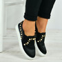 Marissa Black Pearl Slip On Trainers