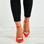 Jayleen Red Satin Diamante Pumps