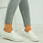 Carley White Slip On Plimsolls