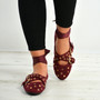 Kenley Dark Red Ankle Wrap Ballerina