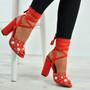 Sophia Orange Pearl Block Heel Sandals