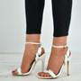Haven Silver Trim White Stiletto Sandals