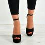 Stephanie Black Floral Heel Platform Sandals