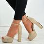 Stephanie Nude Floral Heel Platform Sandals