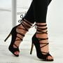 Estrella Black Suede Lace Up Stiletto