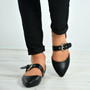 India Black Buckle Pointy Ballerina