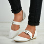 India White Buckle Pointy Ballerina