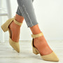 Kate Beige Ankle Strap Block Heel Pumps