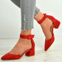 Kate Red Ankle Strap Block Heel Pumps