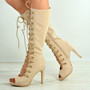 Rayna Beige Knee High Stiletto Sandals