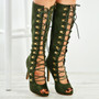 Rayna Army Green Knee High Stiletto Sandals