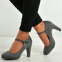 Aurora Grey Block Heel Pumps