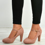 Aurora Pink Block Heel Pumps
