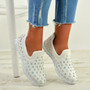 Danielle White Studded Trainers