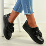 Elyse Black Bow Slip On Trainers