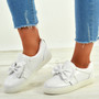 Elyse White Bow Slip On Trainers