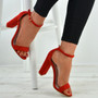 Madison Red Block Heel Sandals