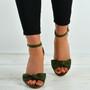 Karlee Olive Bow Heeled Sandals