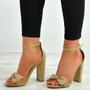 Karlee Khaki Bow Heeled Sandals