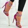 Princess Fuchsia Stiletto Pearl Sandals