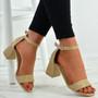 Selena Beige Mid Heel Sandals