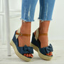 Tatum Blue Wedge Platform Sandals