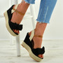 Tatum Black Wedge Platform Sandals